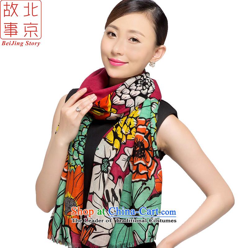 Beijing2015 new story wool stamp scarves, warm winter long shawl flowers of purple 178018 Goblin