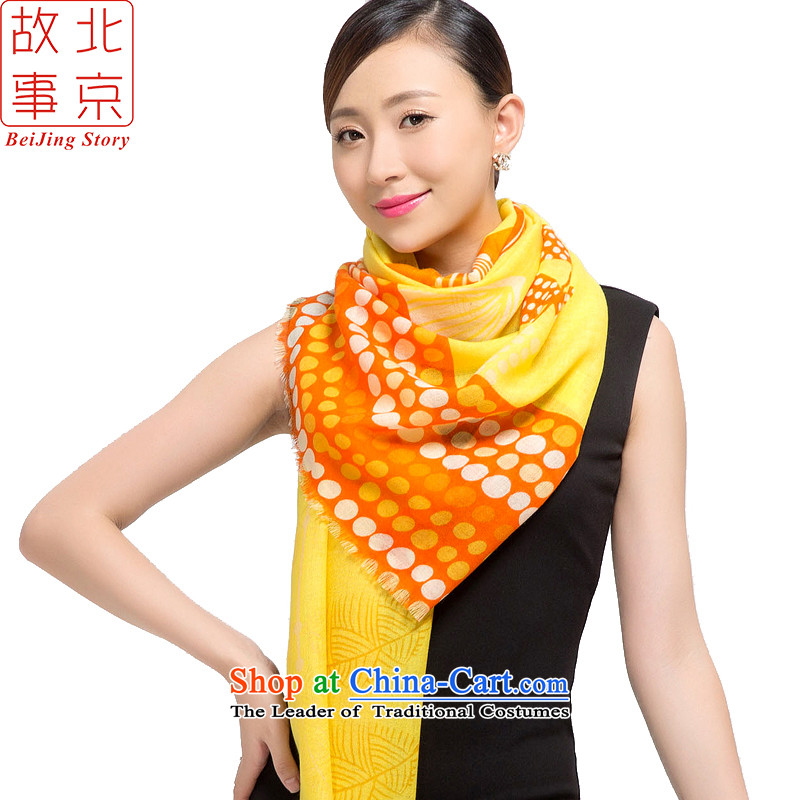 Beijing2015 new story wool stamp scarves, warm winter long shawl multimedia content blade 187017 yellow