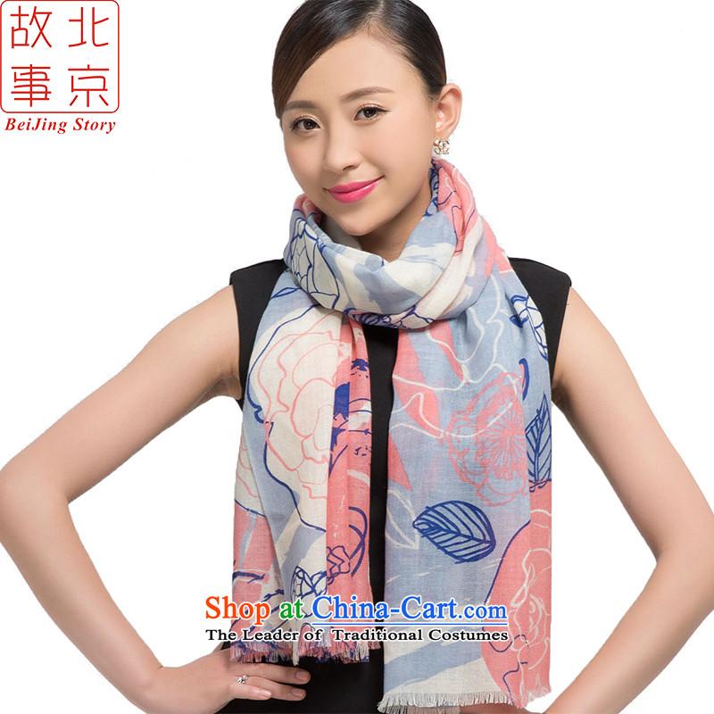Beijing2015 new story wool stamp scarves, warm winter long shawl early winter 178016 taste blue