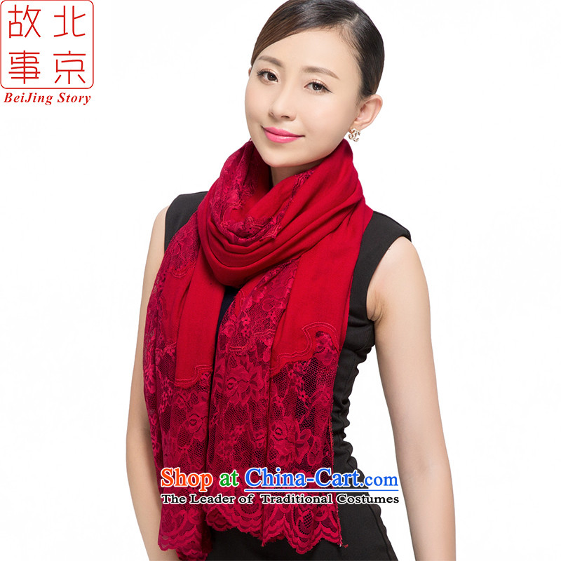 Beijing 2015 new story twill wool thick shawl women scarf warm winter lace 178021 Classic Red