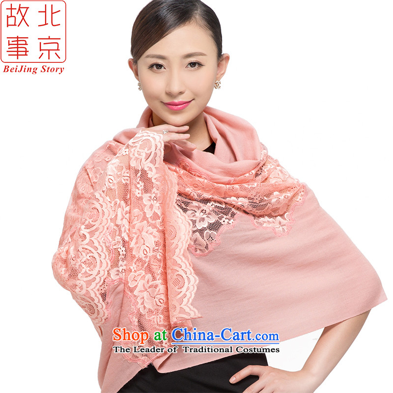 Beijing 2015 new story twill wool thick shawl women scarf warm winter lace classic 178021 Pink