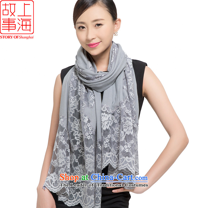 Shanghai Story2015 new twill wool thick shawl women scarf warm winter lace 178021 classic gray