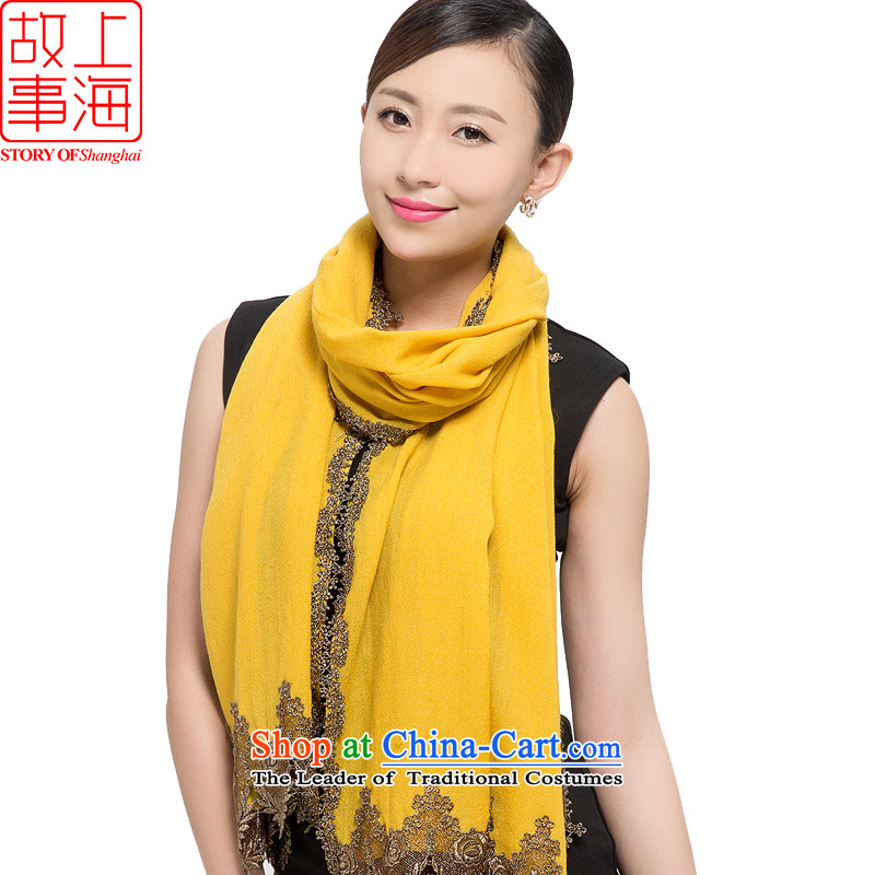 Shanghai Story2015 New 80 pixel color woolen scarves Women warm winter shawl pure colors and elegant178020yellow