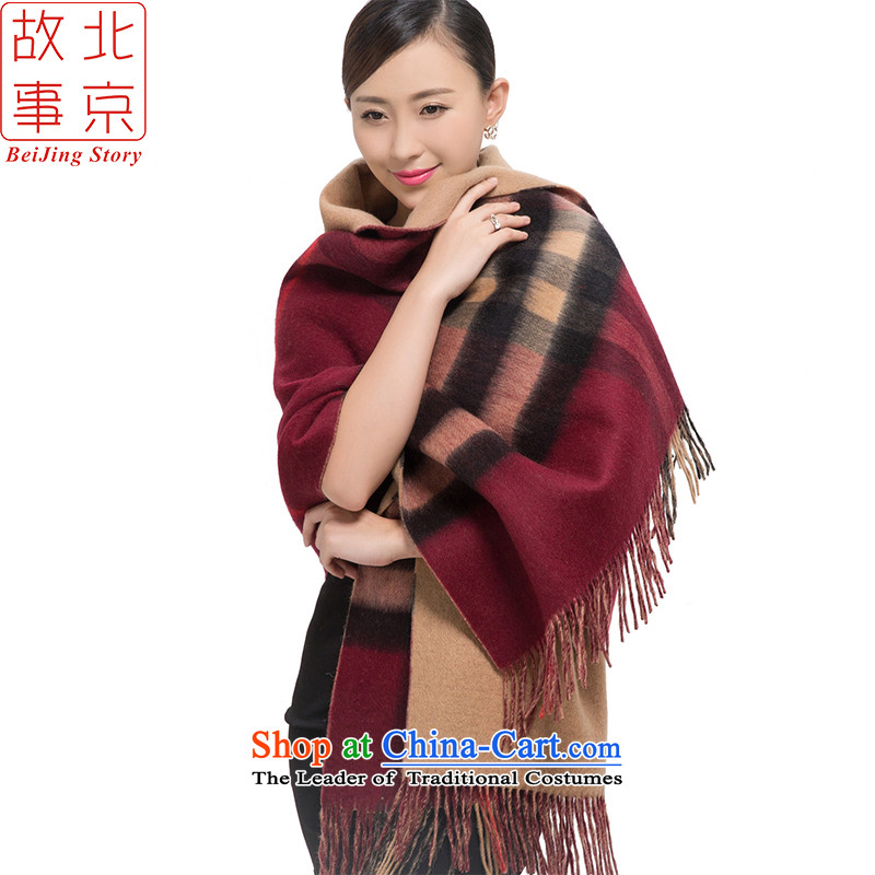 Beijing 2015 new scarves story female autumn and winter Cashmere wool double-sided latticed 178028 thick shawl wine red