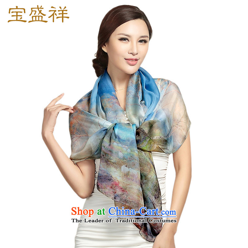 Ms. Cheung blossom silk scarf snow filature towel long scarf herbs extract turban sunscreen womens air-conditioning shawl Dark Blue Mountains s9105