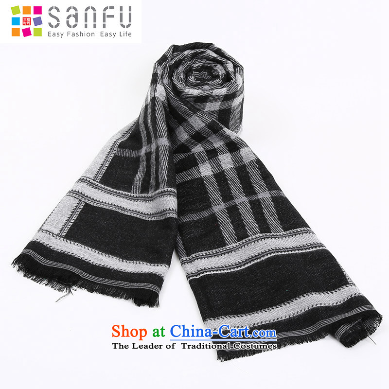 Three of the Women 2015 winter new Korean color grid edging knocked stitching mixed long scarf 749054 Black