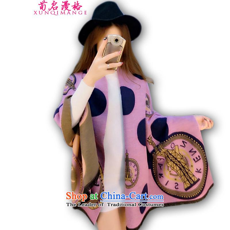 Sun Kai Man, autumn and winter new Paris Eiffel pashmina shawl4313female thick XWY637 purple Pink