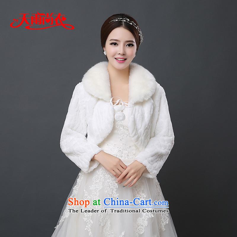 Rain-sang yi 2015 winter new bride wedding dresses jacket bridesmaid marriage at shoulder soft warm white long-sleeved shawl PJ0143 gross