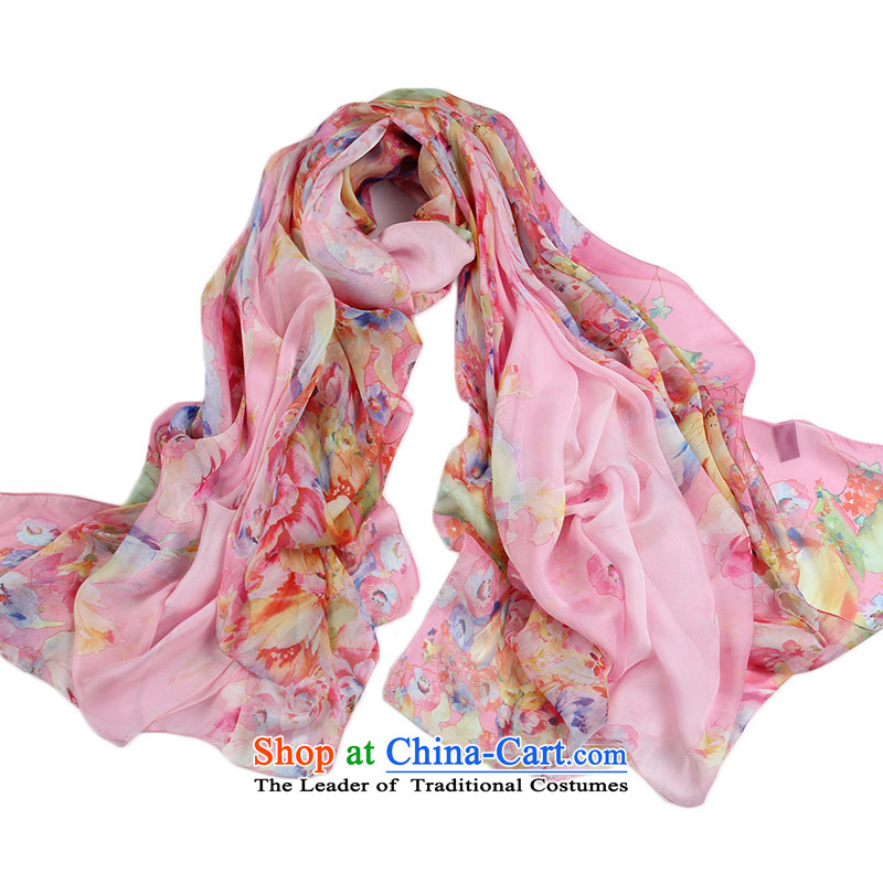 Shanghai Story Ms. silk scarf scarf sunscreen beach towels and snow spinning towel air-conditioning shawl flowers Pink