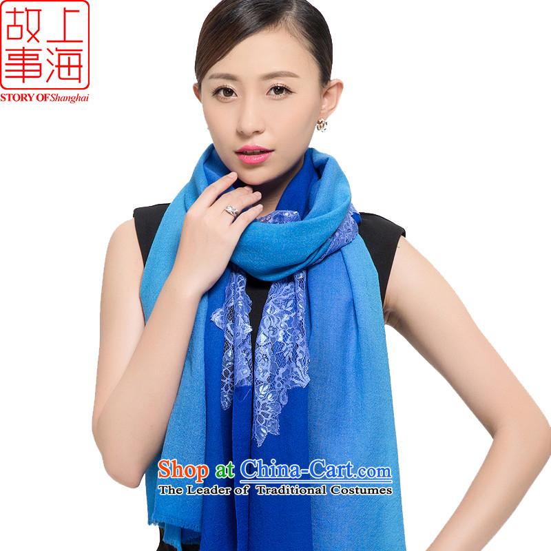 Shanghai Story聽2015 New 80 wool lace scarf women winter long a stylish simplicity 178068 Blue