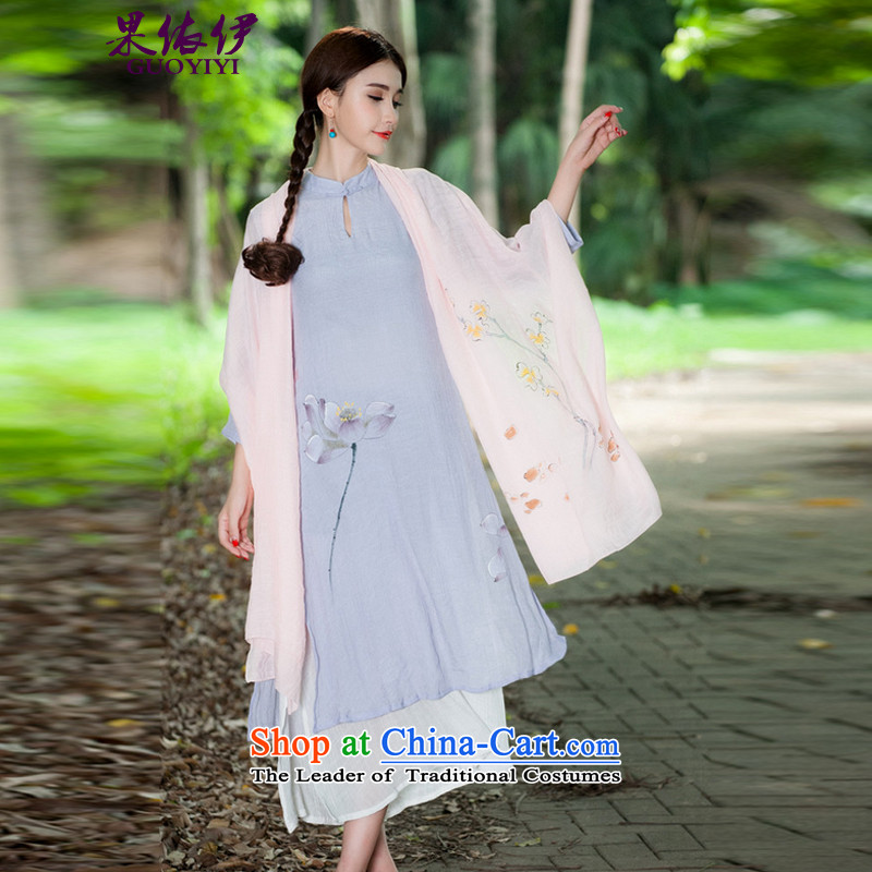 In accordance with the results of the2015 Autumn El new sum female national China wind hand-painted stamp Fancy Scarf female 9317 Yellow