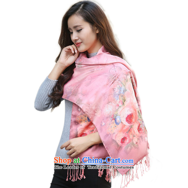Hundreds of energy by 2015 Autumn and Winter Female Stamp Fancy Scarf long large two-sided warm with two shawls scarves wj005 Pink