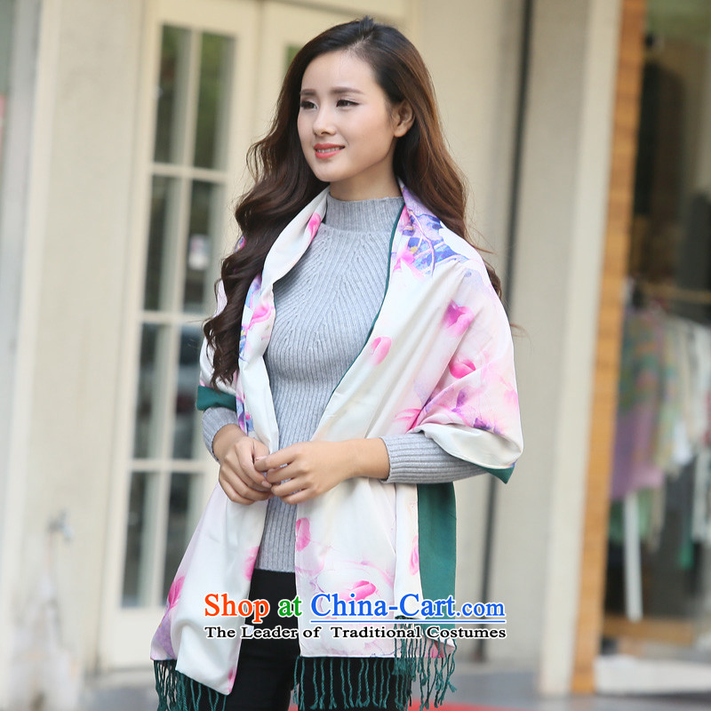 Hundreds of autumn and winter 2015 Ms. energy stamp Fancy Scarf long large two-sided warm with scarves wj002 two shawls July-september flower