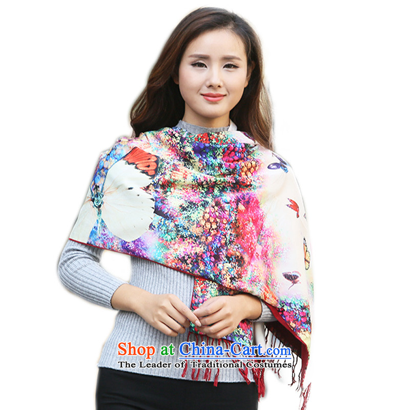 Hundreds of energy聽by 2015 Autumn and Winter Female Stamp Butterfly Print Fancy Scarf long large two-sided warm with two shawls scarves wj004 Butterfly Print