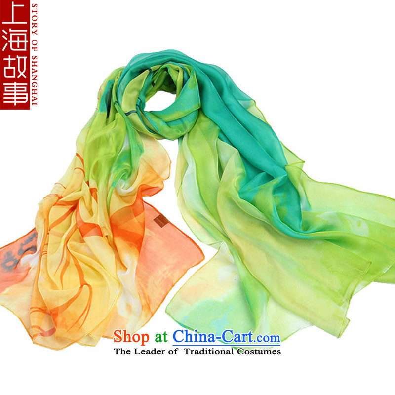 Shanghai Story silk scarf, wild long scarf autumn and winter snow warm spinning, towel blue