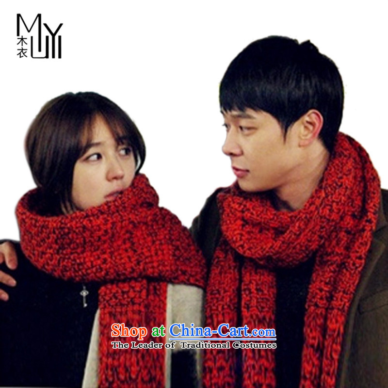 Wooden Yi autumn and winter, Korean spelling color knitting, knitting long unisex couples, warm scarfMy-ds-002240x34cm red