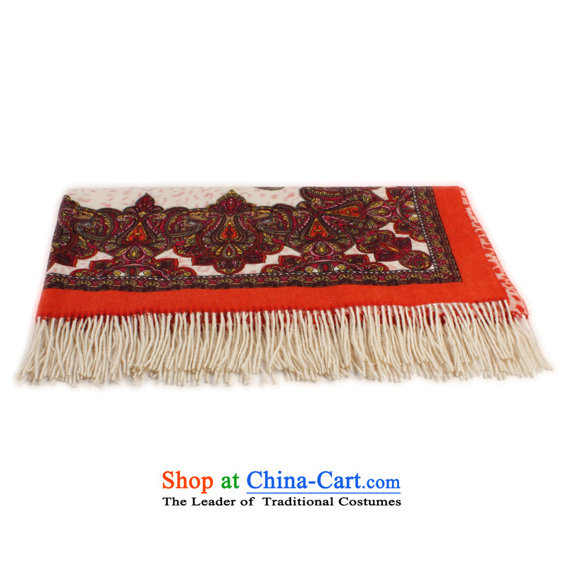 Shanghai Story Pure wool, autumn and winter? ethnic poised gross shawls towel orange red