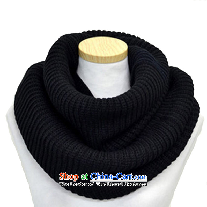 The Korean version of a thick warm winter Ms. Wai Knitting scarves chokeholds head female black 60*30 gold ingot