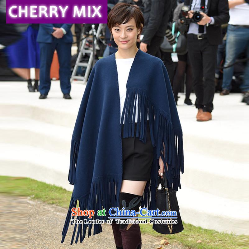 Cherrymixautumn and winter New Sun Li of the same character stream shawl Cashmere wool blend yarn su felt shawl female 1309 dark blue are code