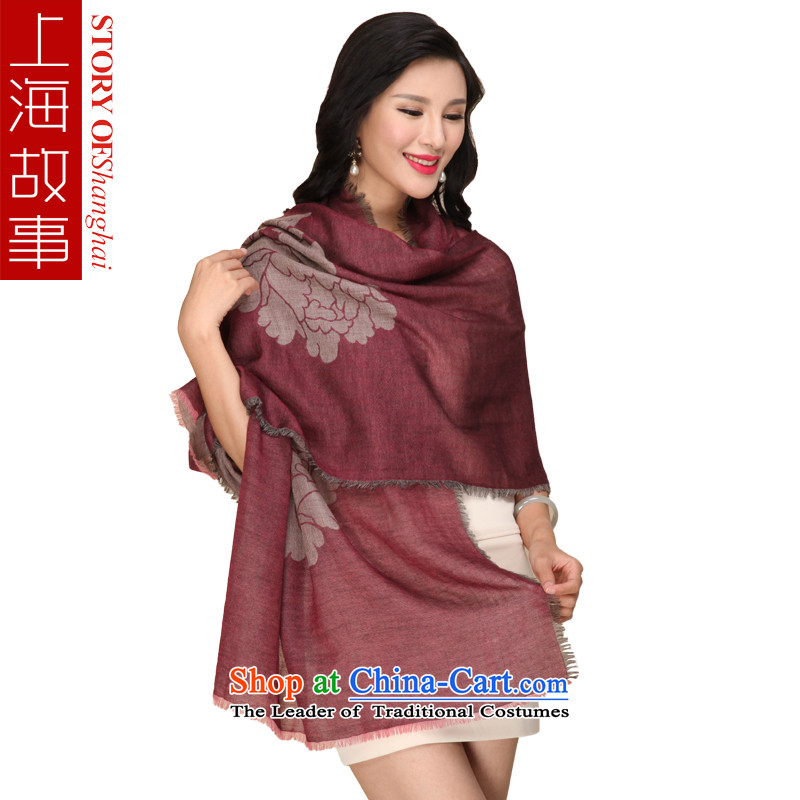 Shanghai Story double pashmina shawl two with the rings and contemptuous of Mudan evergreens Ms. cashmere