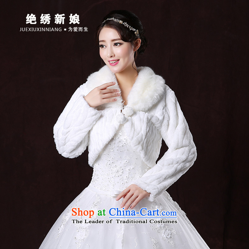 No new 2015 bride embroidered marriages autumn and winter wedding dress shawl thick long-sleeved large warm white jacket shawls gross