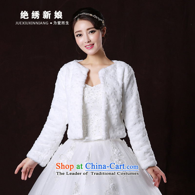 Embroidered bride 2015 autumn is by no means new bride wedding dress white long-sleeved jacket gross shawl White