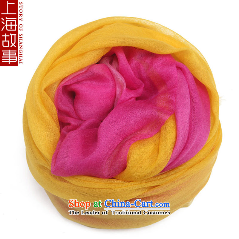 Shanghai Story pashmina shawl female gradient a warm yellow gradient.