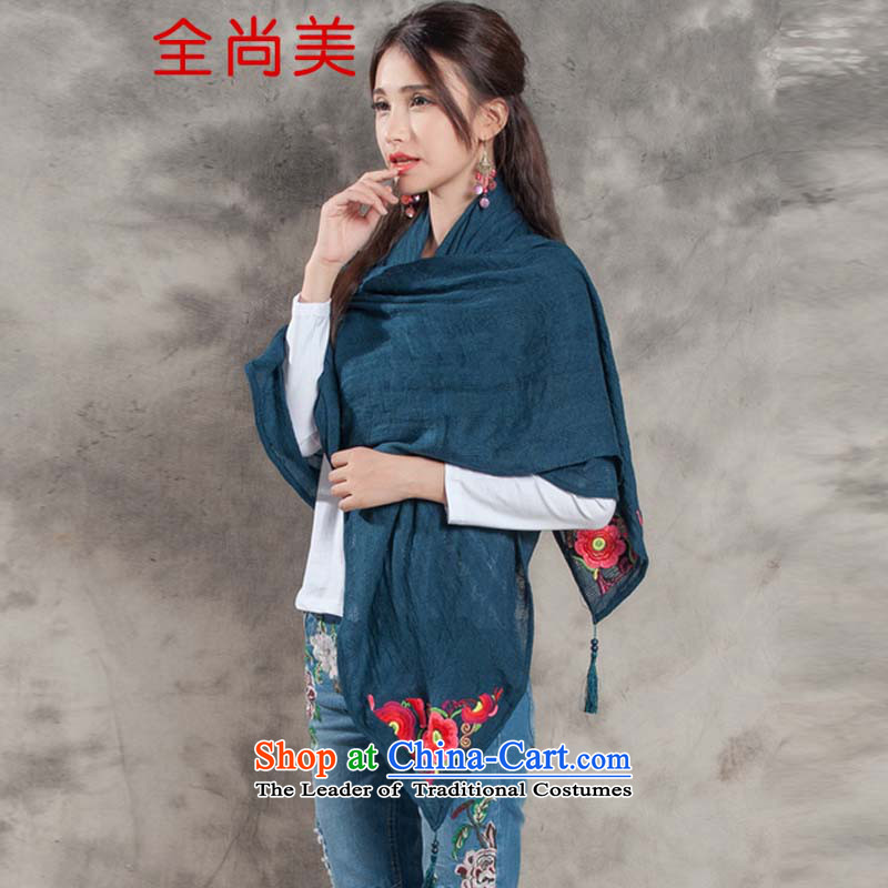 Jeon Sang Mi 2015 autumn and winter new arts sum female Fancy Scarf4313national flower embroidery oversized ultra long shawl A2154 Royal Blue