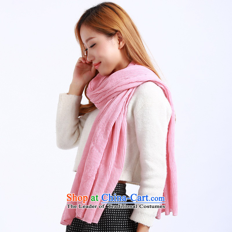 The Korean version of the autumn and winter A441 new sum of literature and art of solid color female cotton linen scarf creases air-conditioning shawl scarves hundreds of two in Pink