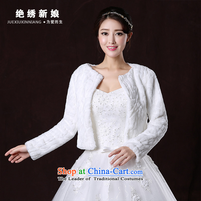 2015 new marriages autumn and winter wedding dress shawl thick long-sleeved large warm white jacket shawls gross