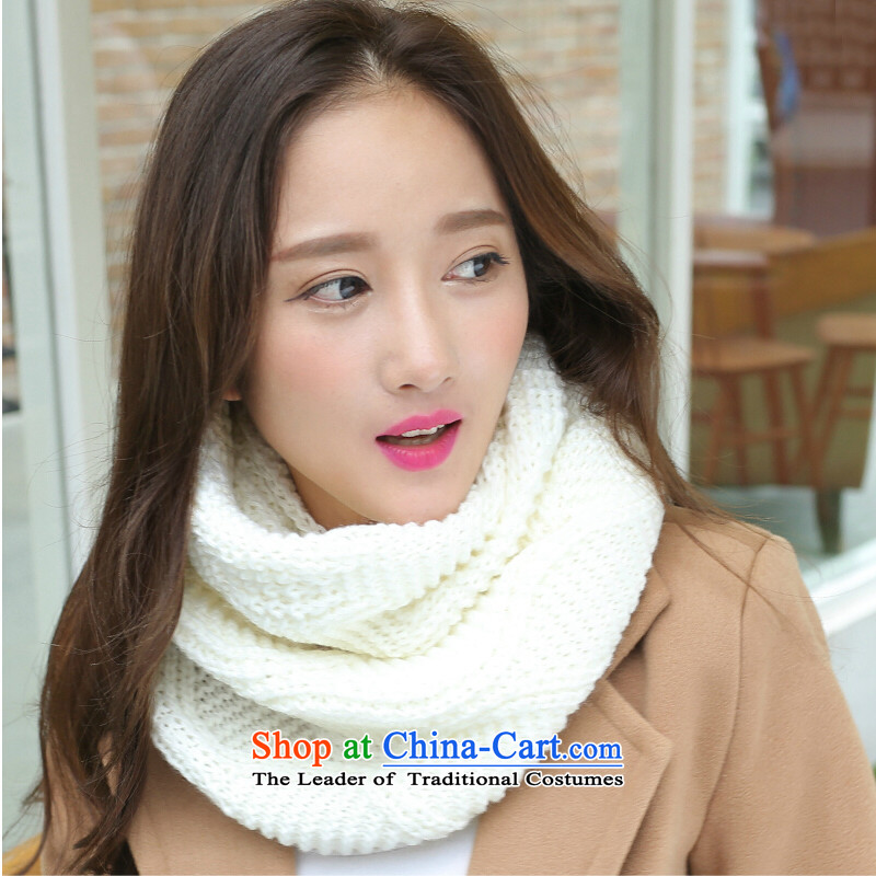 The Korean version of winter couples thick solid color line Knitting scarves women scurf Fall Winter Knitting scarves jw01 Warm White