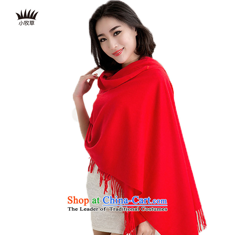 Small grass scarf female autumn and winter new scarf long long, thick solid color Red Shawl