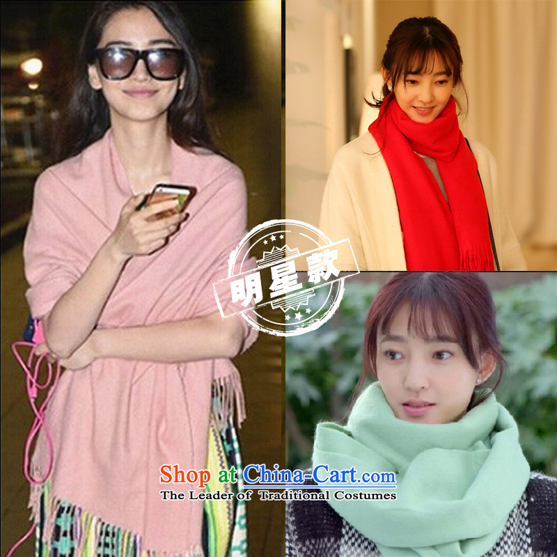 It takes the same two scarves solid color shawl pink pashmina shawl emulation air-conditioning with two-long stream of Ms. scarves light pink red