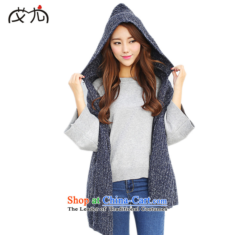 In particular, the Korean version of HIV retro-pocket handkerchief Ms. thick autumn and winter pure color knitting hat fancy scarf coat Navy