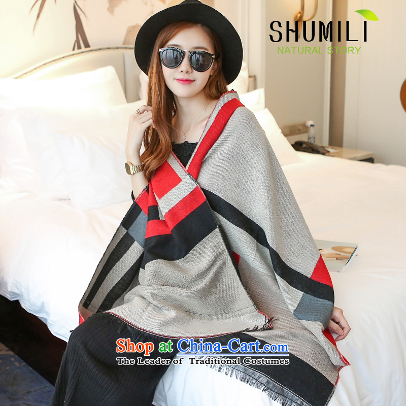 Mrs Carrie Yau, Ms. Mimi scarves knitted woolen scarves winter twist knitted cardigans gray and red