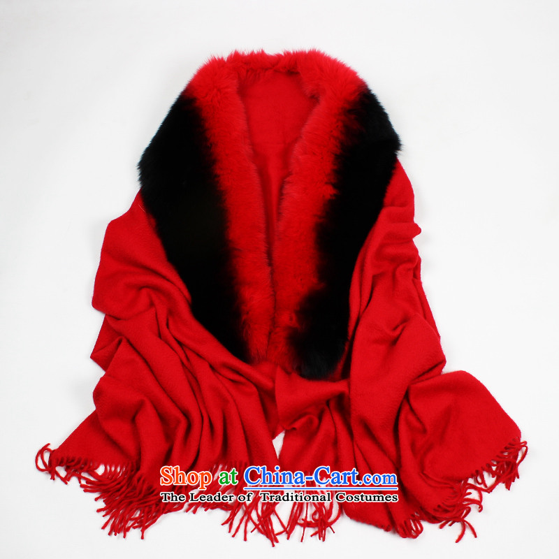 Shanghai Story luxury of winter the new color cashmere shawls fox gross for the largest upscale Ms. warm and stylish large shawl thick, Red