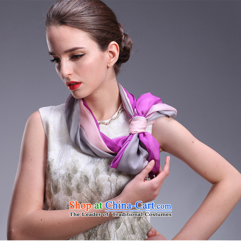 Hengyuan Cheung sunscreen silk scarves female summer air-conditioning beach shawl upscale silk scarfs summer sunscreen oversized masks in purple gray gradient 051753 Charm