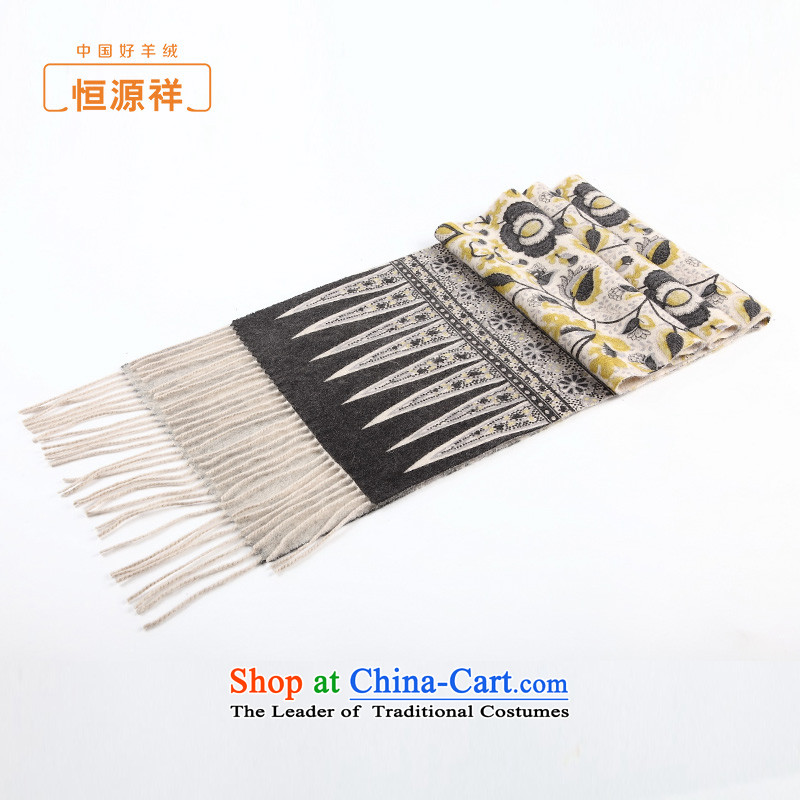 Hengyuan Cheung female pashmina of autumn and winter edging long ethnic pure Cashmere scarf shawl stamp two with thick yellow stamp.