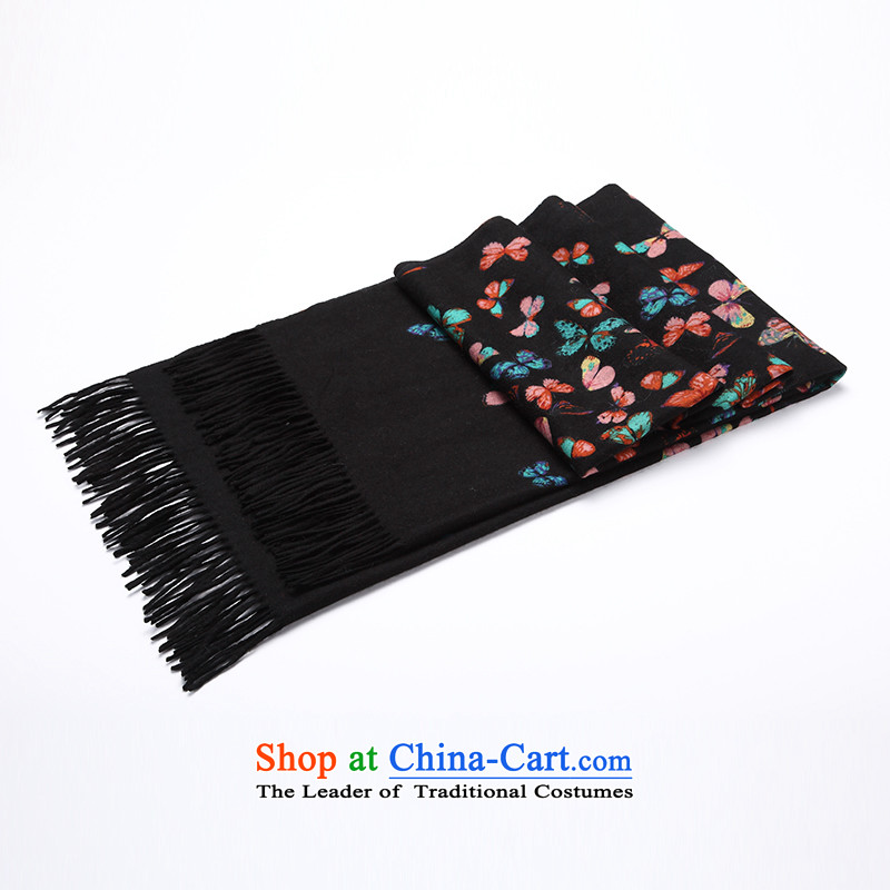Ms. Cheung Hengyuan stamp cashmere shawls big butterfly autumn and winter new thick pure Cashmere scarf shawl two black stamp.