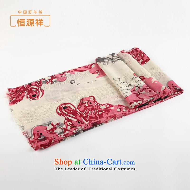 Ms. Cheung Hengyuan wooler scarf spring and fall of hem stamp worsted Australian wool scarf silk scarf shawl, wine red stamp.