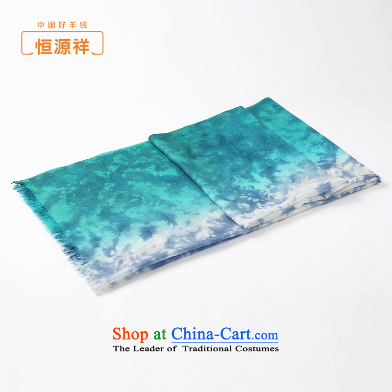 Hengyuan Cheung female pashmina spring and fall 2015 color dye stylish Stamp situation shower pashmina shawl two thin blue color gradient.