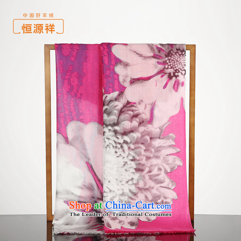 Hengyuan pure Cashmere scarf girls sang-spring and fall new products twill paintings stamp large shawl scarf two super long, thin red stamp in the .