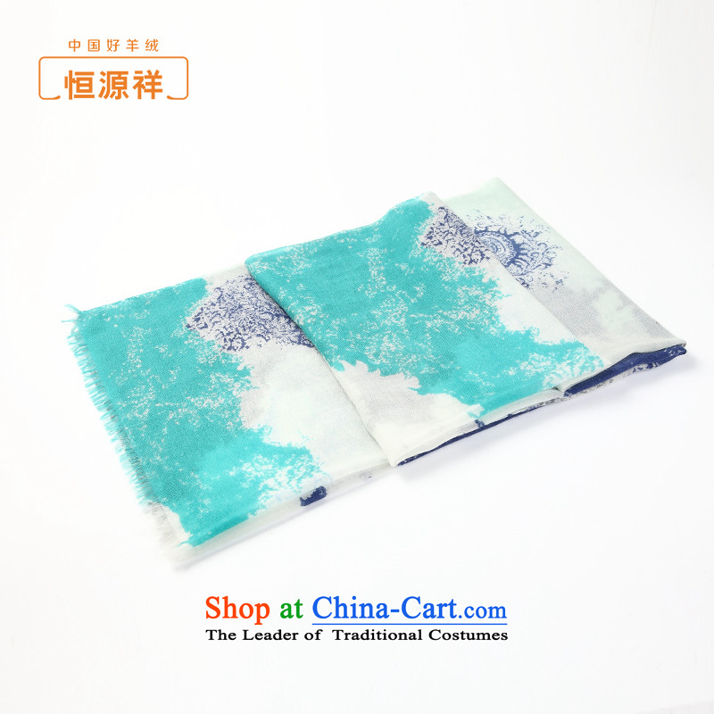Ms. Cheung Hengyuan shawl autumn and winter new products ink paintings pure Cashmere scarf spring and autumn long thin green shawl stamp duty.