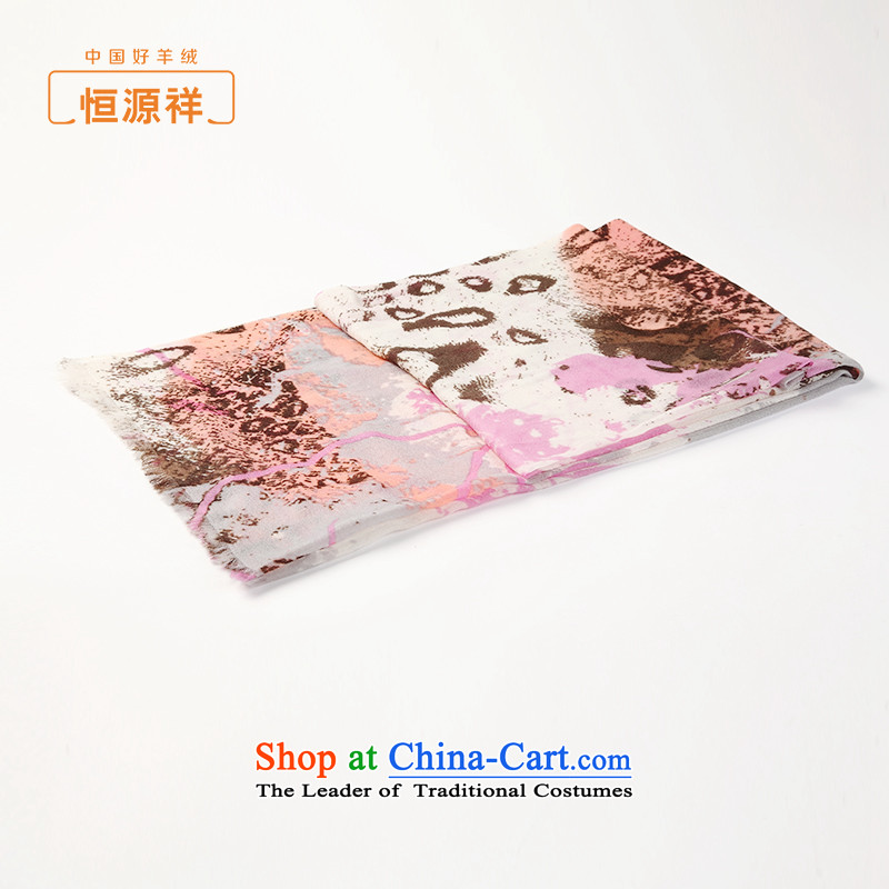 Hengyuan Cheung female autumn and winter pashmina new products pure cashmere twill floral stamp shawl long scarf thin two with pink stamp.