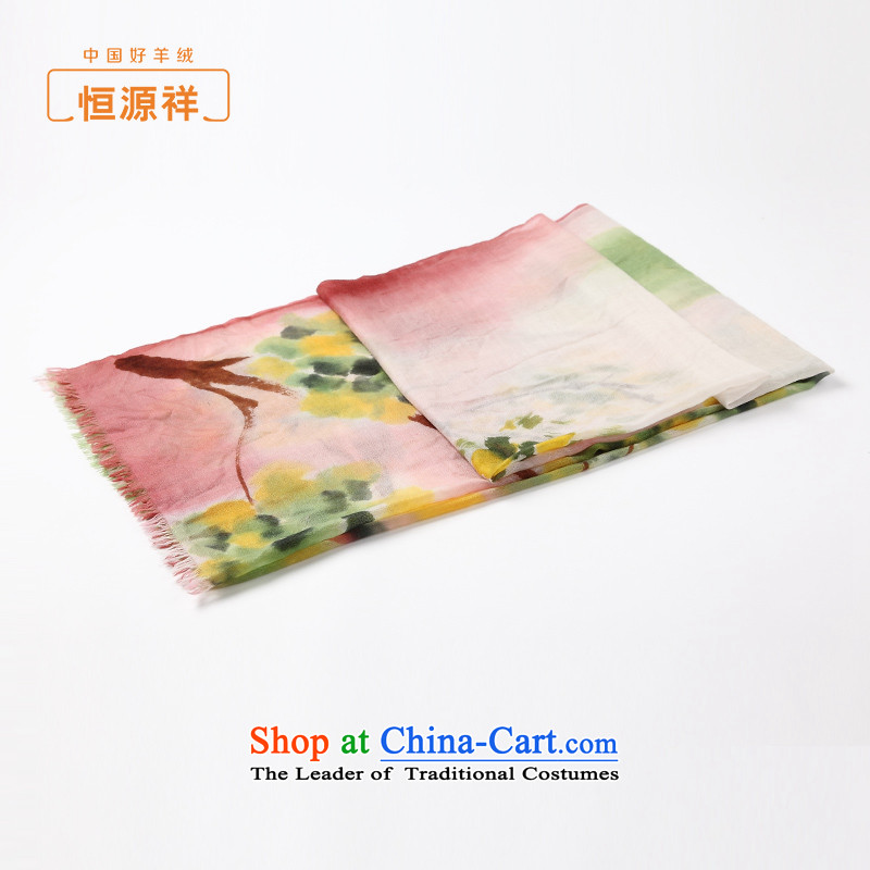Hengyuan Cheung /pashmina shawl female spring and fall 2015 new products thin pure cashmere shawls stylish hand-painted with green and yellow scarves two.