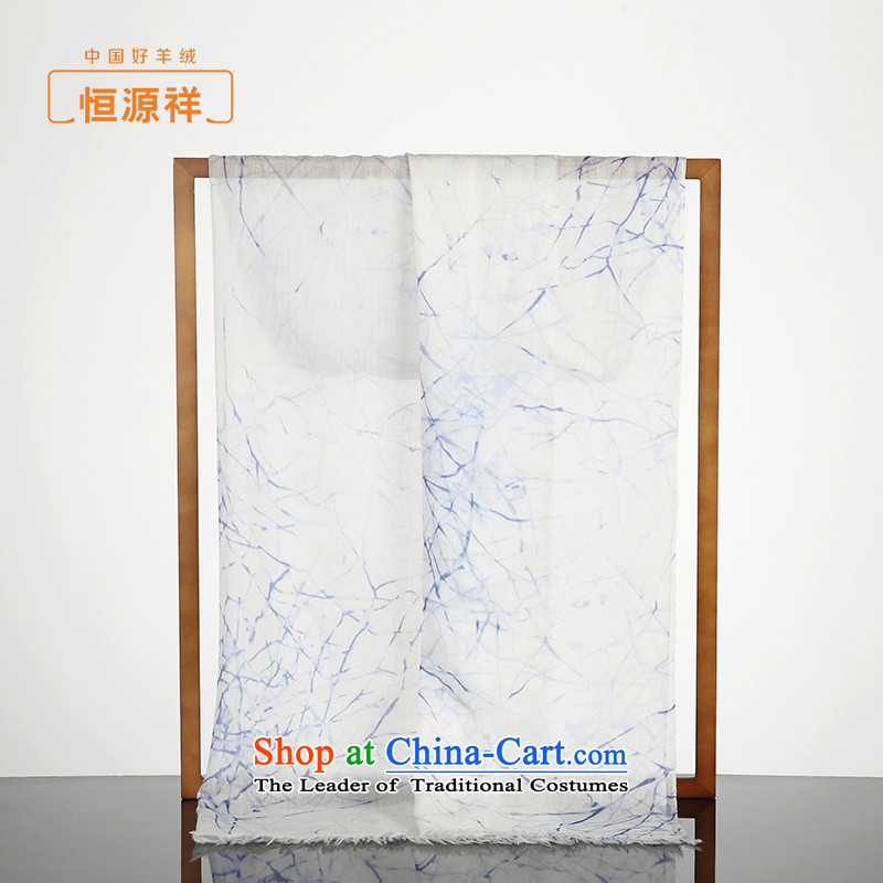 Hengyuan Cheung female pashmina spring and fall 200 support thin stamp pure Cashmere scarf silk scarf long large shawl blue. Days