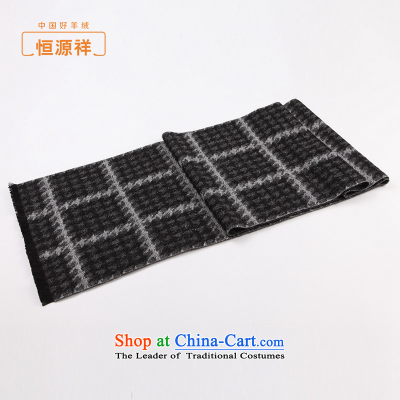 Hengyuan Cheung Man latticed scarf of autumn and winter long jacquard chidori grid satin wool Fancy Scarf with thick black and white, two.