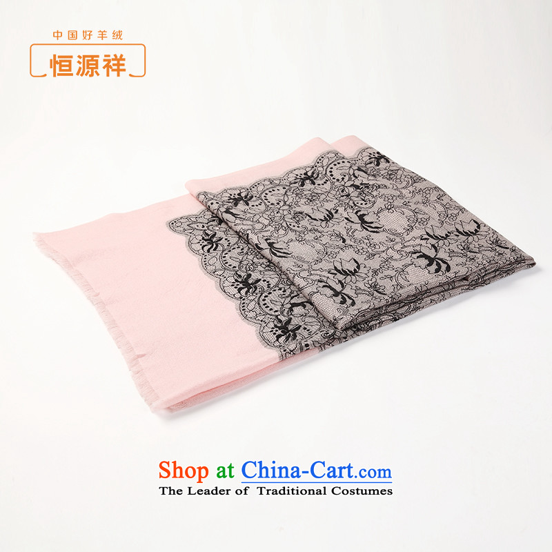 Ms. Cheung Hengyuan wool woolen Cashmere scarf spring and autumn palace retro stamp long Fancy Scarf two thin pink stamp.