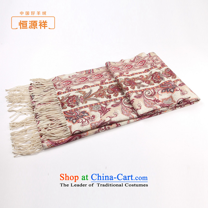 Hengyuan Cheung summer air-conditioning shawl girl of autumn and winter thick retro-sided stamp Pure Wool Fancy Scarf two pink, with the stamp.