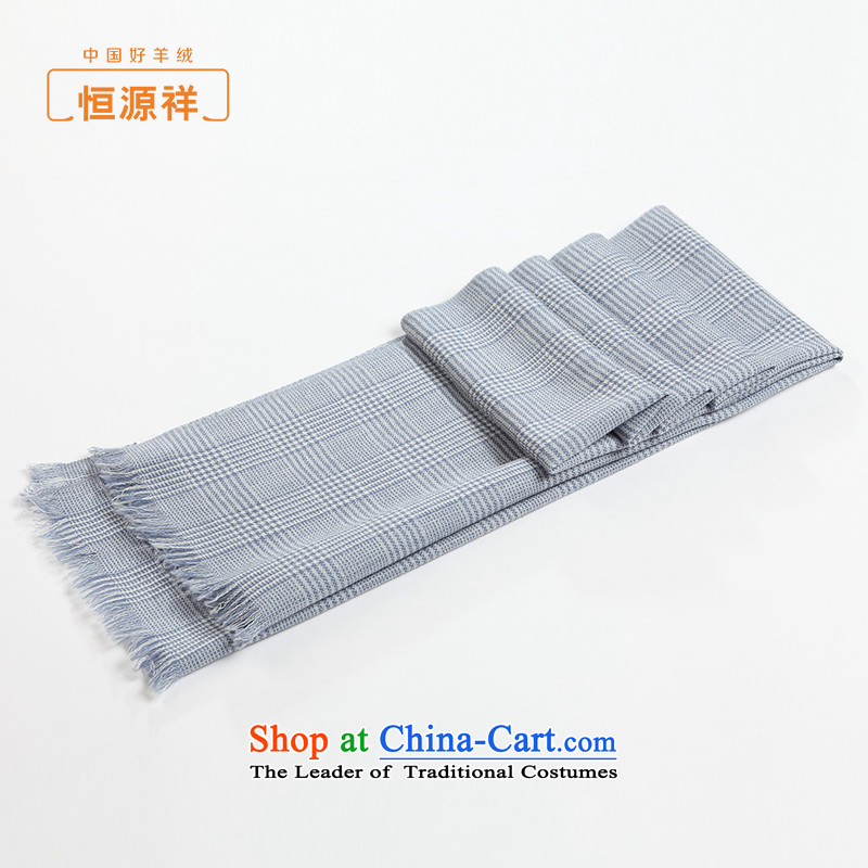 Ms. Cheung Hengyuan Fine Grid scarf spring and fall 2015 new products facade Pure Wool scarf large satin shawl thin blue white.